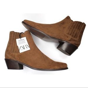 NWT Zara Leather Suede Cowboy Heel Ankle Boot 9 40